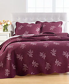 CLOSEOUT! Stenciled Leaves Twin/Twin XL Quilt, Created for Macy's
