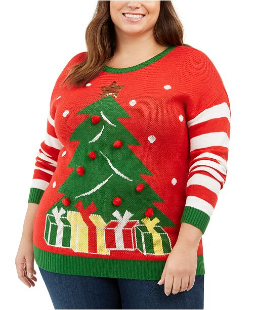 Ultra Flirt Trendy Plus Size Holiday Tree Sweater
