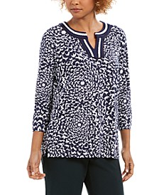 Charted Club Printed Crochet-Trim Tunic Top, Created for Macy's