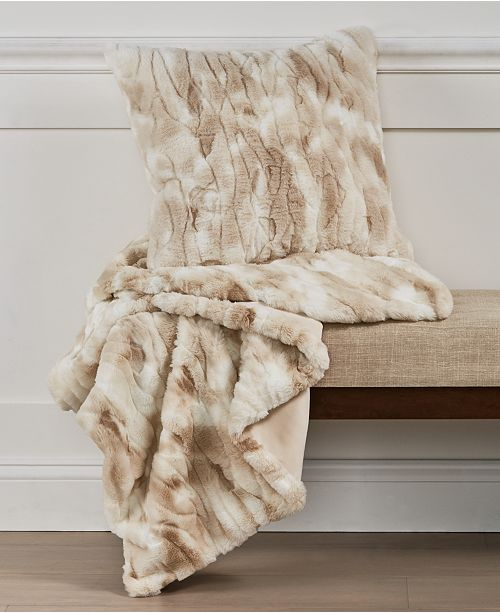 Martha Stewart Collection Textured Faux-Fur Decorative Pillow & Throw Collection, Created For Macy's
