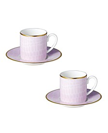 Layla Espresso Cups Saucers - Set of 2