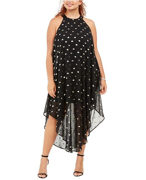 Love Squared Trendy Plus Size Metallic Polka-Dot Maxi Dress