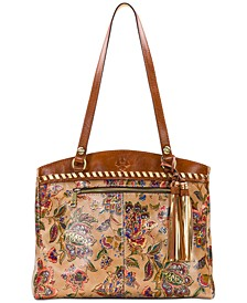 French Tapestry Poppy Leather Tote