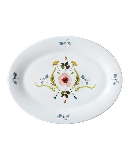 "Twig New York Scandinavian Floral 14"" Oval Platter"