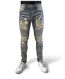 Men's Rip and Repair Indigo Slim Fit Moto Jeans