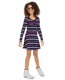 Big Girls Striped Long-Sleeve Top & Skirt Set, Created For Macy's