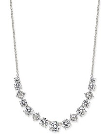 "Danori Silver-Tone Crystal Layla Medium Frontal Necklace, 16"" + 1"" extender, Created For Macy's"
