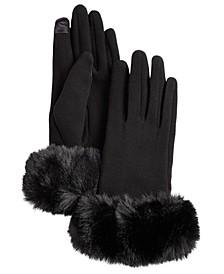 Women's Faux Fur Cuff Jersey Touchscreen Glove