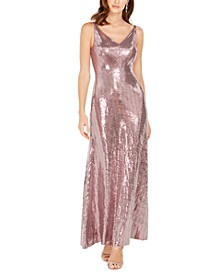 V-Neck Sequined-Dot Gown