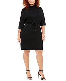 Plus Size Mock-Neck Drawstring-Waist Dress