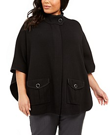 Plus Size Mock-Neck Cape Jacket
