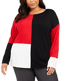Plus Size Colorblocked Sweater, Created For Macy's