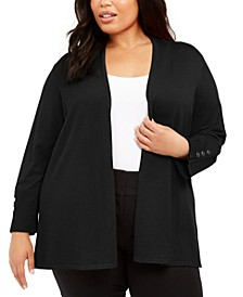 Plus Size Snap-Sleeve Cardigan, Created For Macy's
