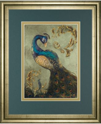 """Peacock on Sage Il by Tiffany Hakimipour Framed Print Wall Art - 34"""" x 40"""""""