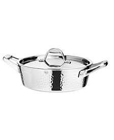 STERN 2.6 Quart Hammered Stainless Steel Tri-ply Covered Braiser