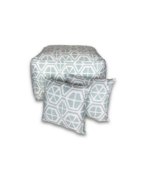 Savvy Chic Living Outdoor Large Square Pouf and Pillow Pack