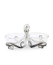 Pewter Octopus with Twin Glass Bowls