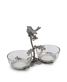Pewter Song Bird Double Condiment Bowl