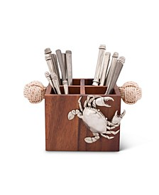 Caddy Square Acacia Wood Flatware, Serve Ware, Utensil, Carry-All Holder with Solid Pewter Crab Accent and Real Rope Handles, 4 Compartments