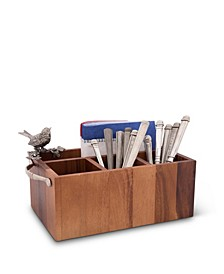 Caddy Rectangle Acacia Wood Flatware, Serve Ware, Utensil, Carry-All Holder with Solid Pewter Song Bird Accent and Real Leather Handles