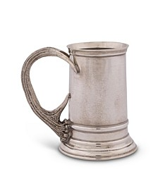 Solid Pewter English Beer Mug, Tankard with Pewter Antler Handle