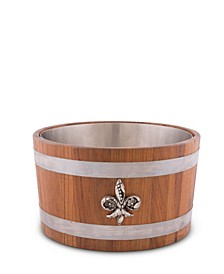 "Solid Teak Wood Ice, Wine, Champagne, Beer Cooler, Tub with Pewter ""Fleur De Lis"" Emblem and Pewter Bands"