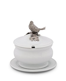 Lidded Porcelain Soup, Sauce, Gravy Bowl with Solid Pewter Song Bird Handle, Knob
