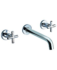 """Polished Chrome 8"""" Widespread Wall-Mounted Cross Handle Faucet"""