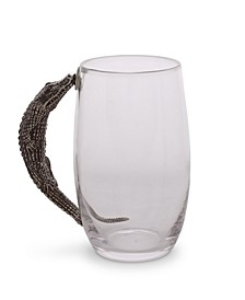 Glass Beer Mug with Pewter Alligator Handle