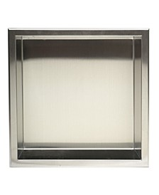 Brushed Stainless Steel Square Single Shelf Bath Shower Niche