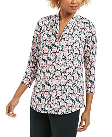 Floral Print Ruched V-Neck Blouse, Created For Macy's