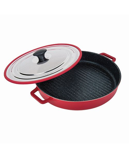 """MasterPan Stovetop Oven Grill Pan with Heat-In Steam-Out Lid, 12"""""""