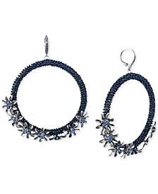 Crystal Flower Beaded Drop Hoop Earrings