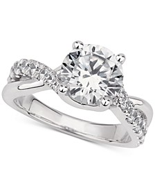 GIA Certified Diamond Twist Shank Engagement Ring (2-1/2 ct. t.w.) in 14k White Gold