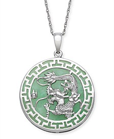 Green Jade (25 mm) Dragon Circle Pendant in Sterling Silver