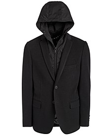 Big Boys Classic-Fit Stretch Black Sports Coat with Removable Hooded Bib