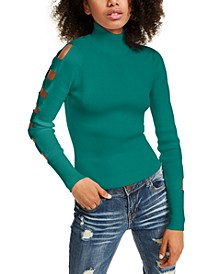 Juniors' Lattice Sleeve Sweater