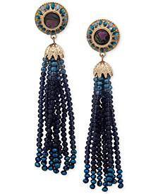 Gold-Tone Pavé & Bead Tassel Linear Earrings