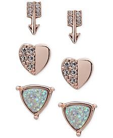 Rose Gold-Tone 3-Pc. Set Crystal Arrow & Heart Stud Earrings