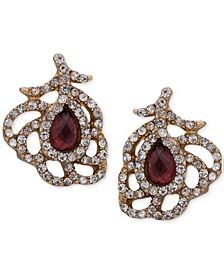 Gold-Tone Burgundy Crystal & Pavé Openwork Stud Earrings