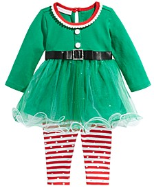 Baby Girls 2-Pc. Elf Tunic & Foil-Dot Striped Leggings Set