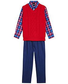 Little Boys 3-Pc. Cable-Knit Sweater Vest, Plaid Shirt & Pants Set