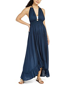 Ruffled Halter Cover-Up Maxi Dress