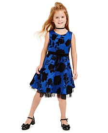Toddler Girls Flocked Floral Dress