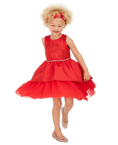 Rare Editions Toddler Girls Lace Peplum Dress