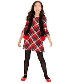 Big Girls 2-Pc. Plaid Dress & Scarf Set