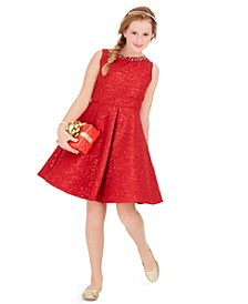 Big Girls Plus Size Embellished Brocade Dress
