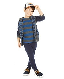 Little Boys Camo-Print Full-Zip Hoodie, Stripe Thermal T-Shirt & Moto Jogger Pants, Created for Macy's