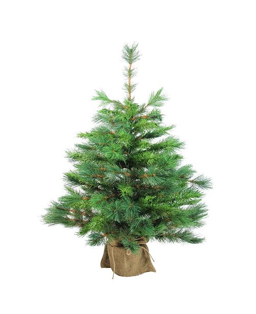 """Northlight 36"""" Rosemary Spruce Artificial Christmas Tree in Burlap Base - Unlit"""