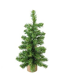 """12"""" Alpine Artificial Christmas Tree With Wood Base Table Top Decoration - Unlit"""
